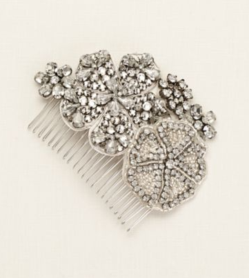 Beaded Crystal Floral Comb